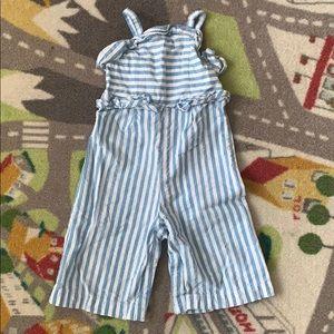 Wide Leg Romper Blue White Stripe Toddler 12m